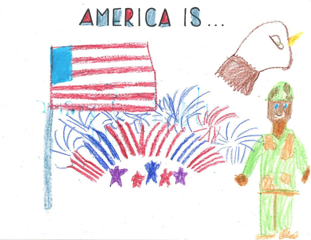 "Jack Nichols, 8, thinks of the bald eagle, fireworks, the flag and those who serve our country when he hears ""America Is."""