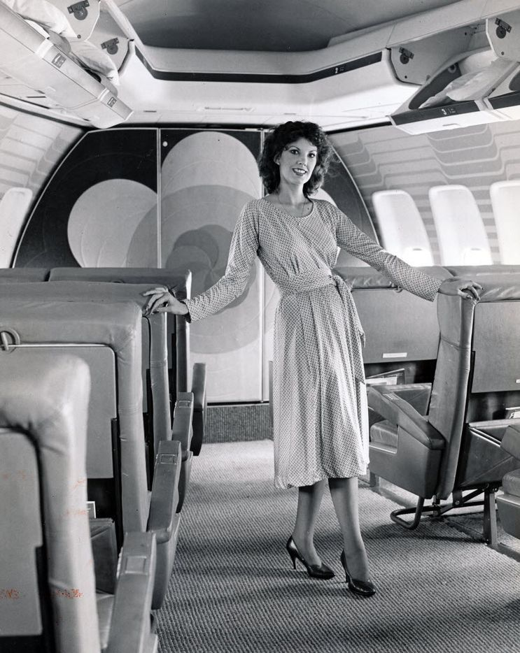 A Braniff International flight attendant onboard one of the carrier's jets in 1980.