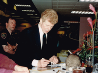 Van Cliburn, shown here at a public event in the 1990s, is a featured figure in WRR's centennial exhibit.