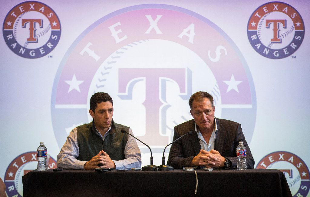 Texas Rangers general manager Jon Daniels (left) and manager Jeff Banister address a press conference at Globe Life Park on Wednesday, Feb. 8, 2017, in Arlington. (Smiley N. Pool/The Dallas Morning News)