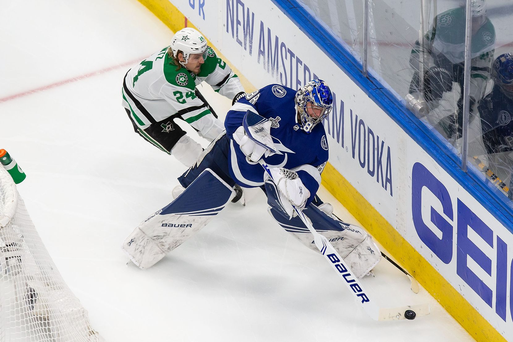 Roope Hintz (24) of the Dallas Stars harasses goaltender Andrei Vasilevskiy (88) of the Tampa Bay Lightning during Game Two of the Stanley Cup Final at Rogers Place in Edmonton, Alberta, Canada on Monday, September 21, 2020. (Codie McLachlan/Special Contributor)