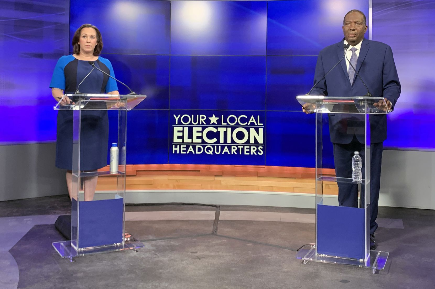 Decorated veteran MJ Hegar of Round Rock (left), leads Dallas state Sen. Royce West (right) in their Democratic runoff for U.S. Senate among women, Hispanics and college-educated voters, though West leads her among African Americans, the poll found.