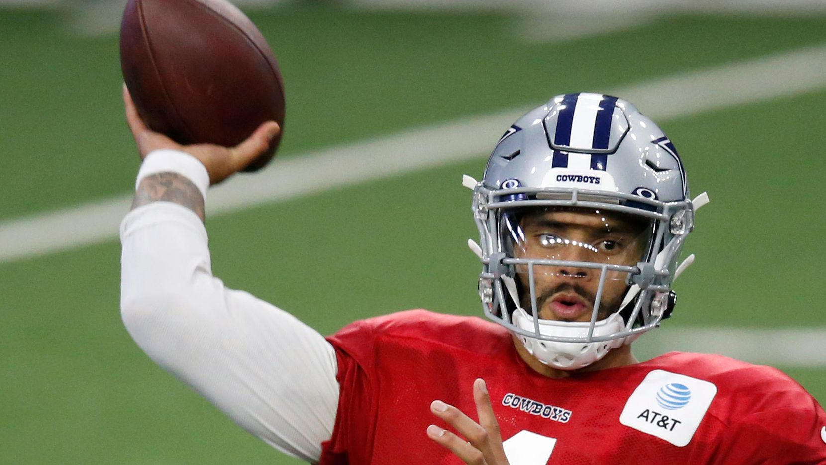 Dallas Cowboys quarterback Dak Prescott (4) attempts a pass in practice during training camp at the Dallas Cowboys headquarters at The Star in Frisco, Texas on Monday, August 31, 2020.
