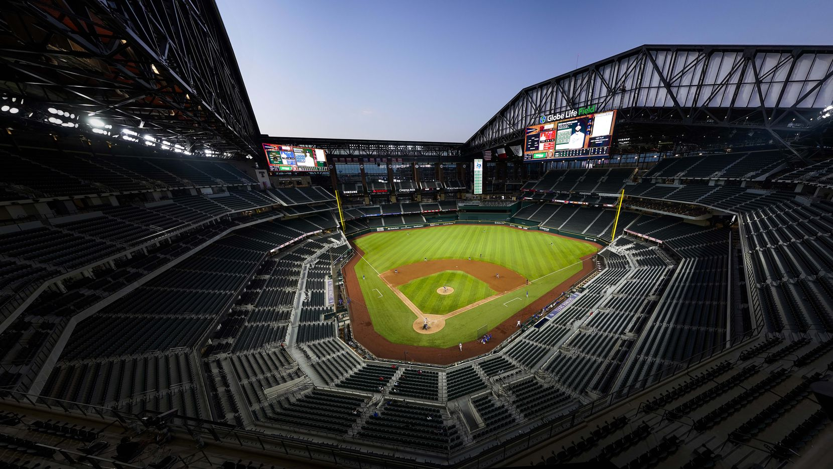 A panoramic view shows the retractable roof open during a Texas Rangers Summer Camp intrasquad game during at Globe Life Field on Friday, July 17, 2020.