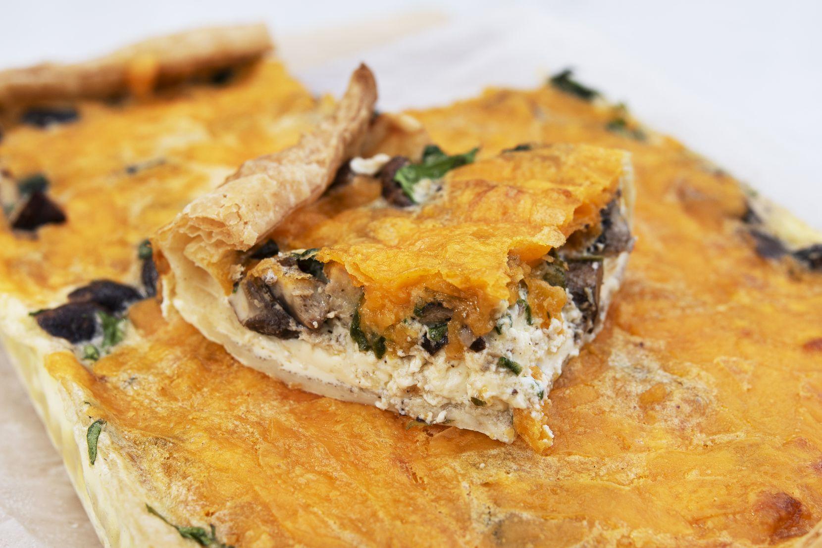 A shiitake and sharp cheddar slab quiche