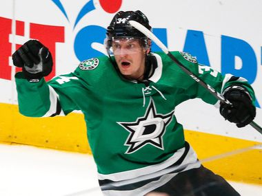 Dallas Stars right wing Denis Gurianov (34) celebrates after scoring during the second period of a NHL matchup between the Dallas Stars and the Tampa Bay Lightning on Monday, Jan. 27, 2020 at American Airlines Center in Dallas.