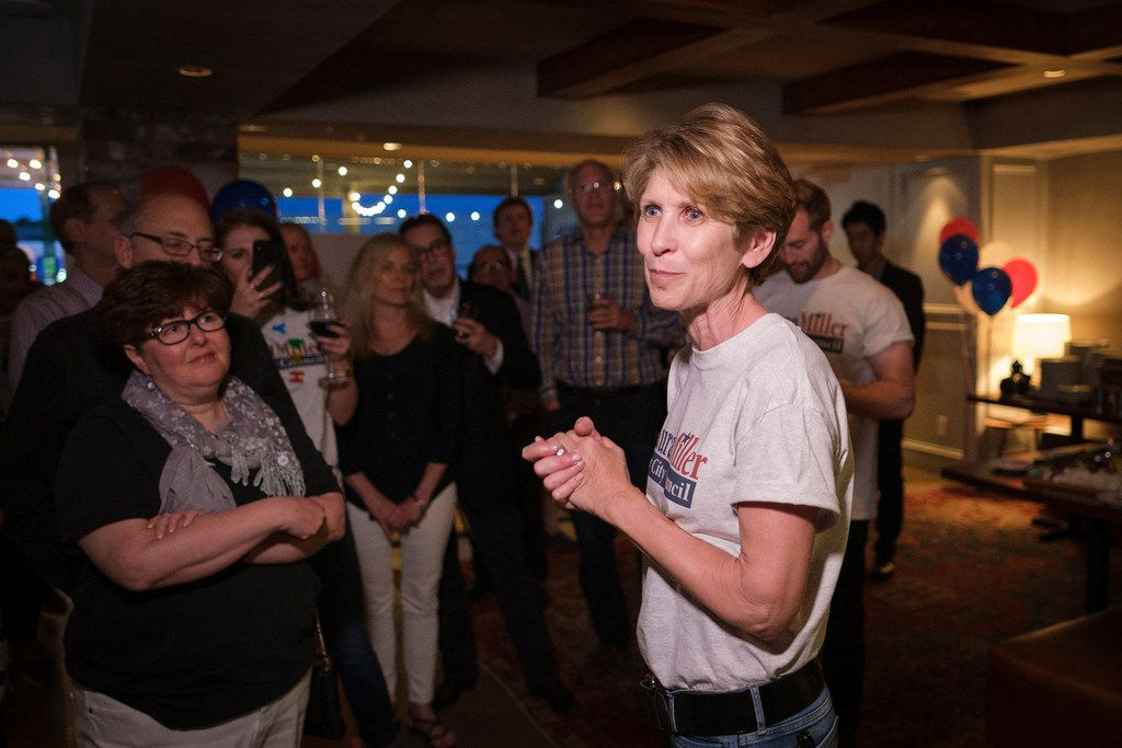 Former Mayor Laura Miller, who ran against incumbent Jennifer Staubach Gates for the Dallas City Council District 13 seat, addressed supporters during an election night watch party on Saturday, May 4, 2019, in Dallas.