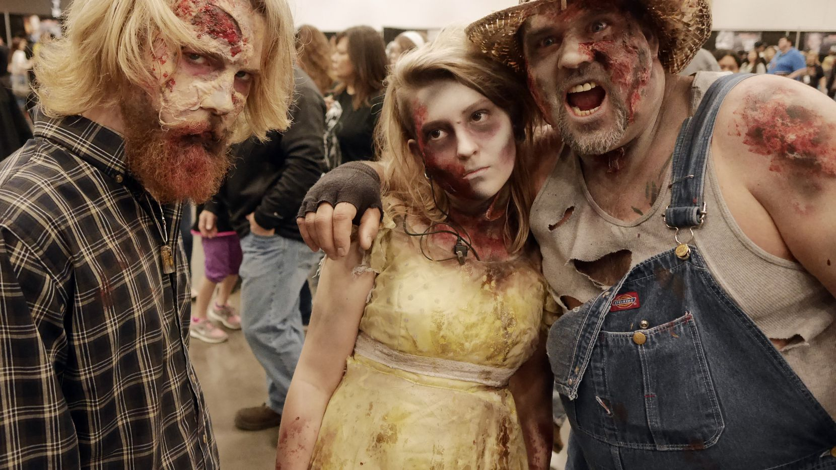 Cutting Edge Haunted House zombies Brenden Allen, Jessica Love and Lee Schulz  at the Walker Stalker Con 2015.