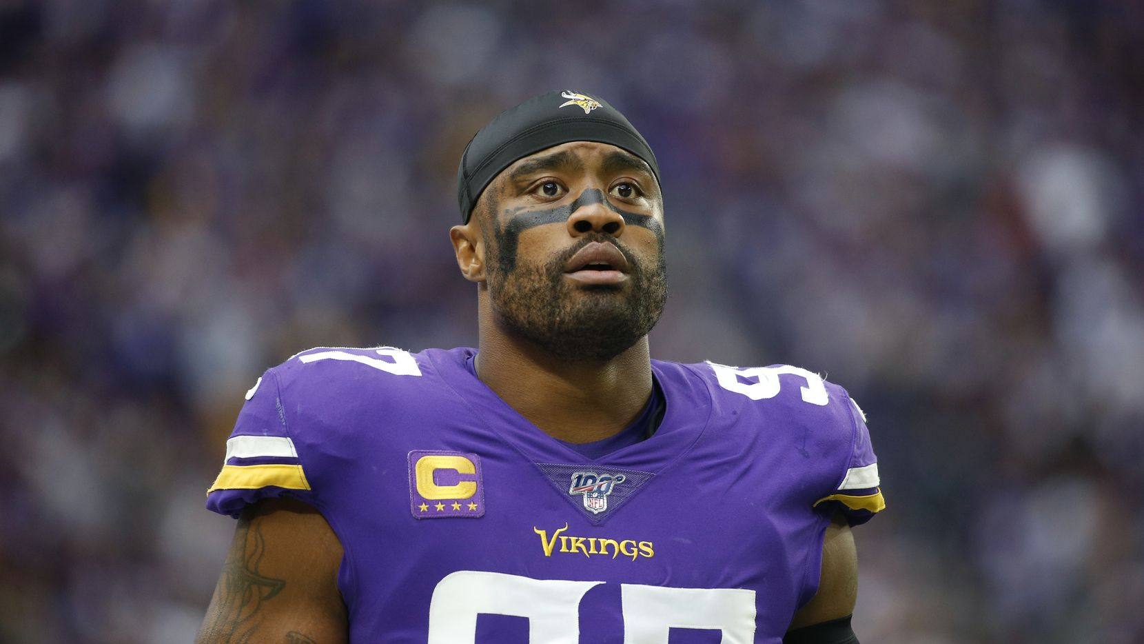 In this Sept. 22, 2019 file photo, Minnesota Vikings defensive end Everson Griffen stands on the field before an NFL football game against the Oakland Raiders in Minneapolis.  After a rough 2018 season when he went on hiatus for mental health treatment, Griffen has been playing as strong as ever in his 10th year in the league.