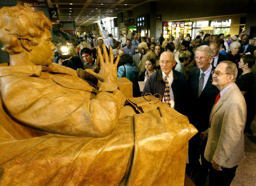 The Barbara Jordan Memorial Statue is unveiled Friday, Nov. 15, 2002, in the baggage claim area of the Austin Bergstrom International Airport in Austin, where the main terminal is named for Jordan. Several dignitaries were on hand for the dedication ceremony including: Austin Mayor Gus Garcia, left, former U.S. Rep. and Texas Supreme Court justice Jack Hightower and former U.S. Rep. J.J. 'Jake' Pickle, right, who both served with Jordan in Congress. Jordan was the first black woman elected to the Texas Senate and the first black woman from the South to serve in Congress. (AP Photo/Austin American-Statesman, Ralph Barrera)