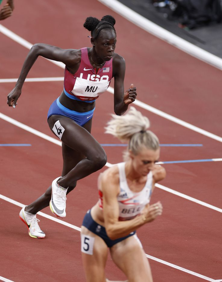 USA's Athing Mu competes in the women's 800 meter semifinal race during the postponed 2020 Tokyo Olympics at Olympic Stadium, on Saturday, July 31, 2021, in Tokyo, Japan. Mu finished with a time of 1:58.07 to advance to the next round. (Vernon Bryant/The Dallas Morning News)