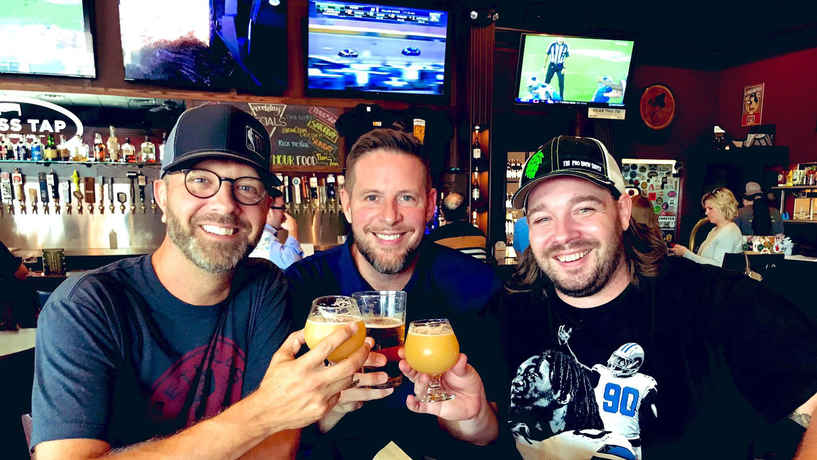 "Radio hosts Jeff ""Skin"" Wade (left) and Ben Rogers (center) brought on brewer Tommy Miller (right) onto their Rollertown Beerworks team. The brewery is expected to open in Celina in 2020."