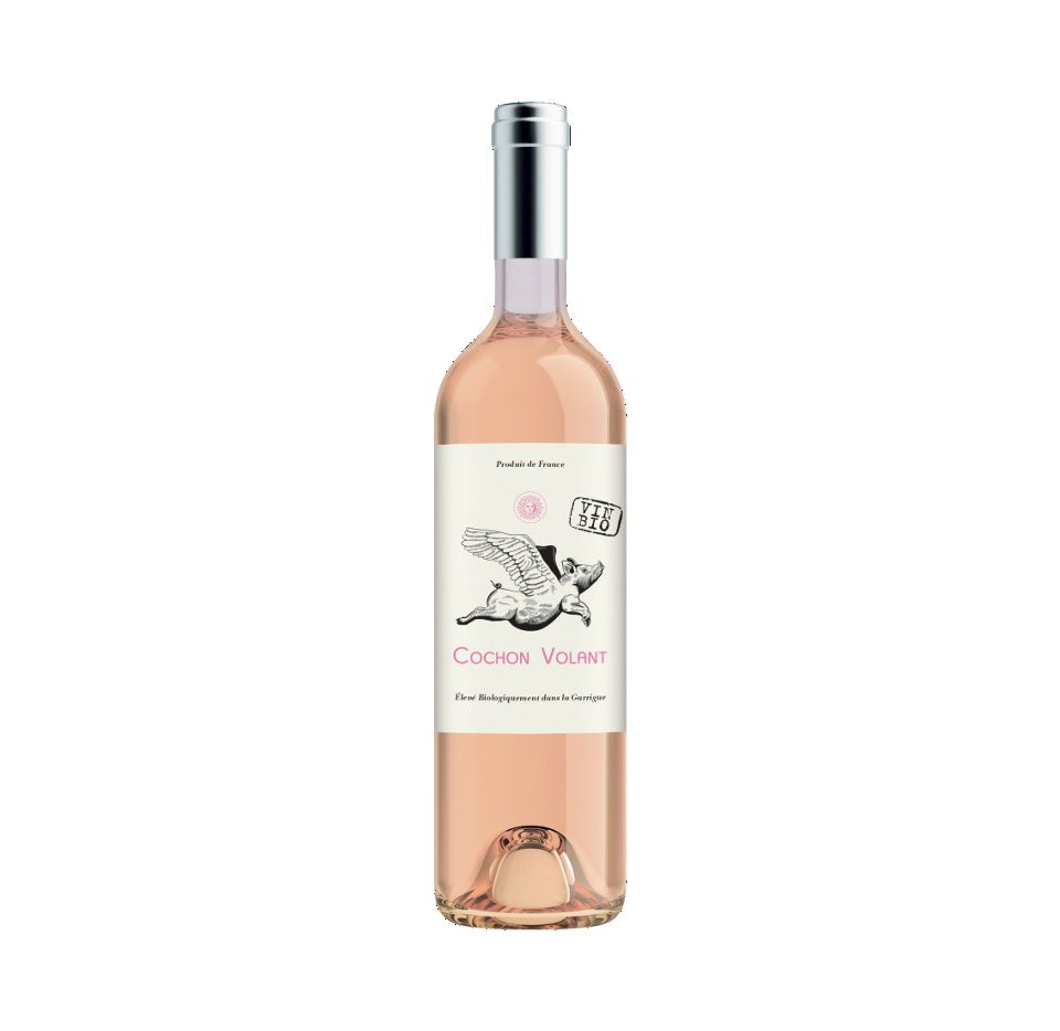 Cochon Volant Rose Pays d Oc 18, $13.99 is 60% Grenache and 40% Cinsault, and is certified organic.