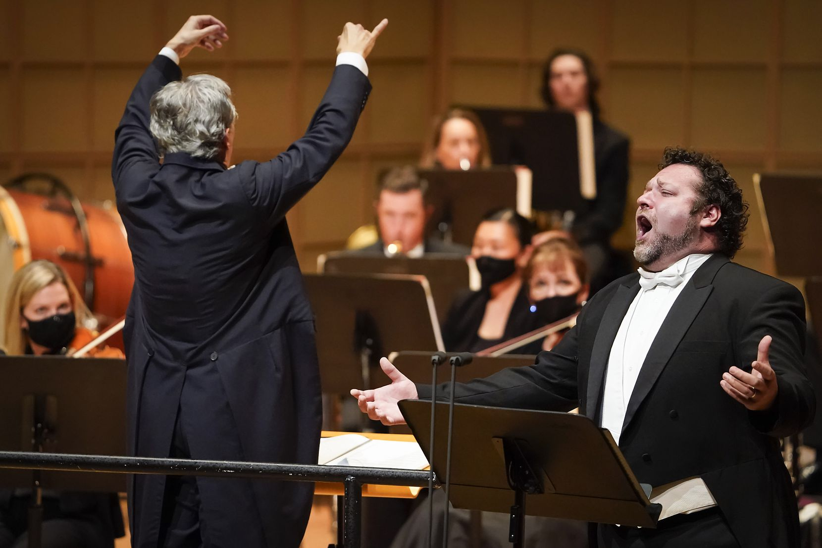Tenor Bryan Hymel performs as Fabio Luisi conducts the Dallas Symphony Orchestra in concert at the Meyerson Symphony Center on Thursday, Oct. 29, 2020, in Dallas.