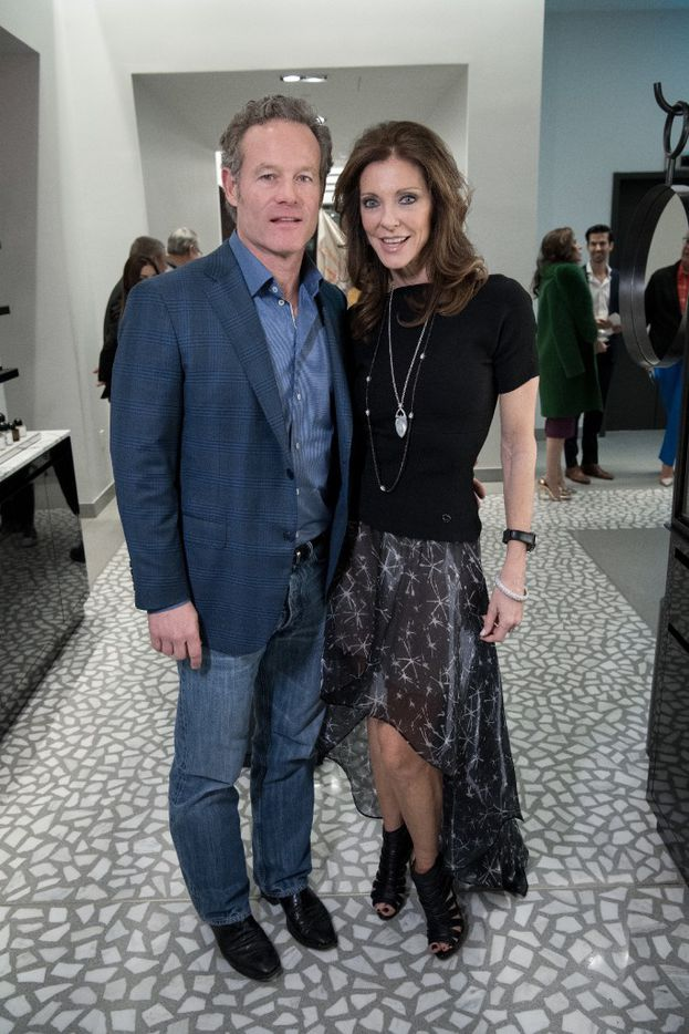 Shy Anderson and Dallas Cowboys exec Charlotte Jones Anderson at the opening gala of Forty Five Ten.