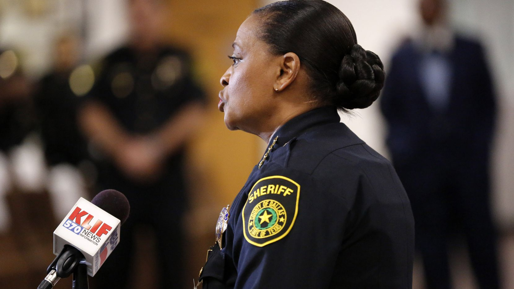 Dallas County Sheriff Marian Brown announces during a press conference at the Frank Crowley Courthouse, Wednesday, March 25, 2020, that a Dallas County jail inmate who had been in custody since December tested positive for the new coronavirus.
