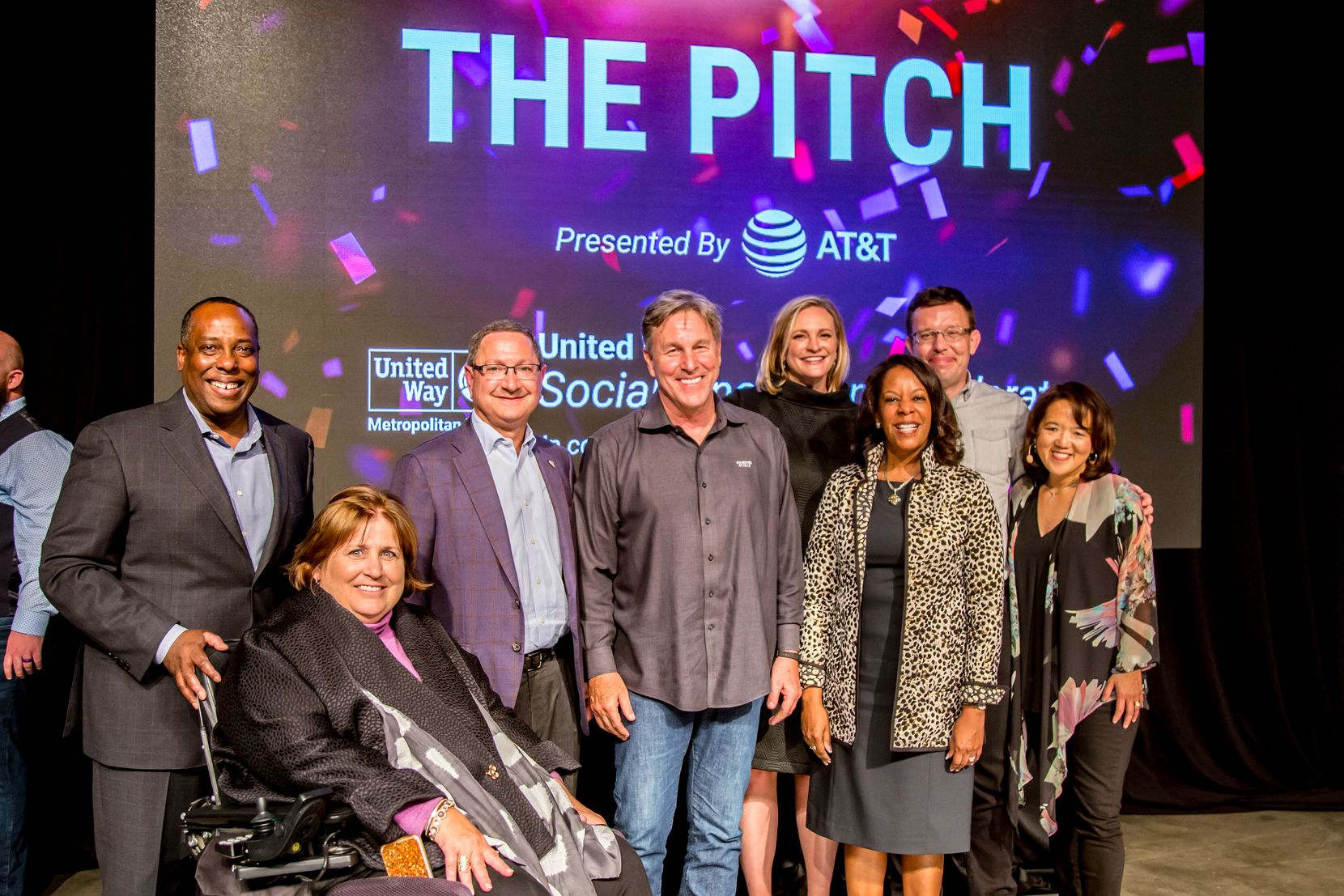 "Anne Chow (far right) emceed United Way of Metropolitan Dallas' ""The Pitch"" in April 2019, a competition that gave $225,000 to social startups. With her from left to right are Steven Williams, CEO of PepsiCo Foods North America; Mary Templeton, 2018-19 United Way campaign co-chair; Ken Hersh, CEO of the George W. Bush Presidential Center; Jack D. Furst, founder of Oak Stream Investors; Jennifer Sampson, United Way president and CEO; Sandra Phillips Rogers, chief legal officer, Toyota Motor North America; and Henry Timms, CEO of the Lincoln Center for the Performing Arts."