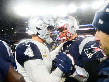 FOXBOROUGH, MA - NOVEMBER 24: Dak Prescott #4 of the Dallas Cowboys shakes hands with Tom Brady #12 of the New England Patriots following the game at Gillette Stadium on November 24, 2019 in Foxborough, Massachusetts. (Photo by Kathryn Riley/Getty Images)