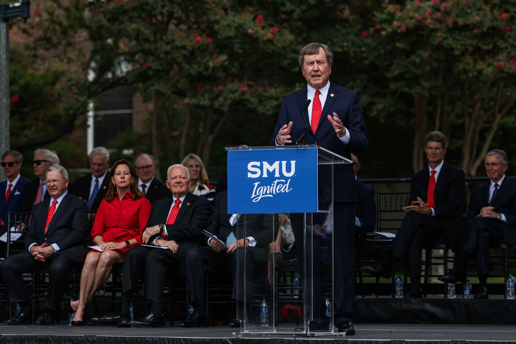 SMU President R. Gerald Turner addressed the attendees during the announcement on Sept. 17, 2021, of a multiyear fundraising campaign that will deliver major benefits to the city and the North Texas region.
