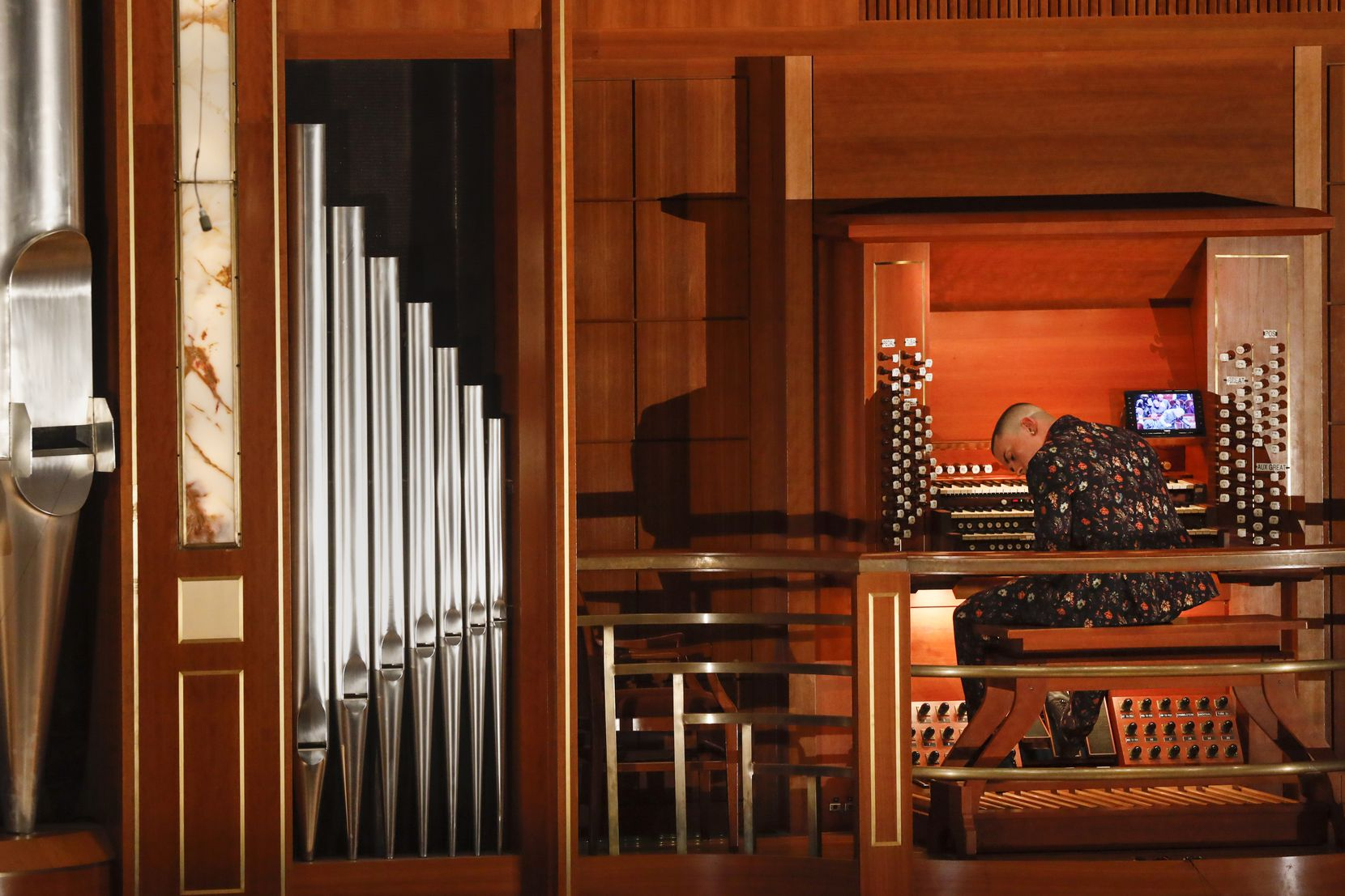 Organist Cameron Carpenter performs with the Dallas Symphony Orchestra during a concert on Thursday, Feb. 27, 2020, at the Morton H. Meyerson Symphony Center in Dallas.