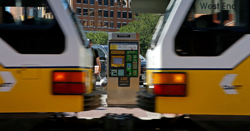A ticket machine is seen as a DART train enters the West End Station in Dallas, Wednesday, May 24, 2017. (Jae S. Lee/The Dallas Morning News)