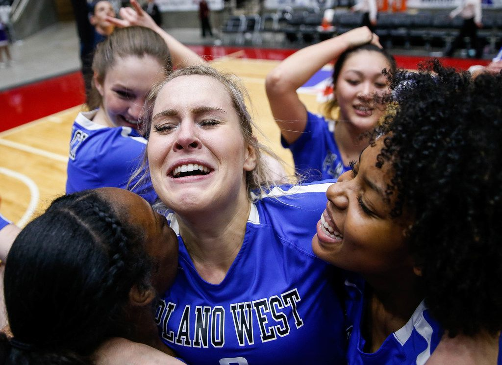 Plano WestÕs Noelle Piatas (6) celebrates with her team after winning the fifth and final set during a class 6A volleyball state semifinal match between Plano West and Fort Bend Ridge Point at the Curtis Culwell Center in Garland, on Friday, November 22, 2019. Plano West won the tie-breaker fifth set 15-13 to move on to the final match. (Juan Figueroa/The Dallas Morning News)