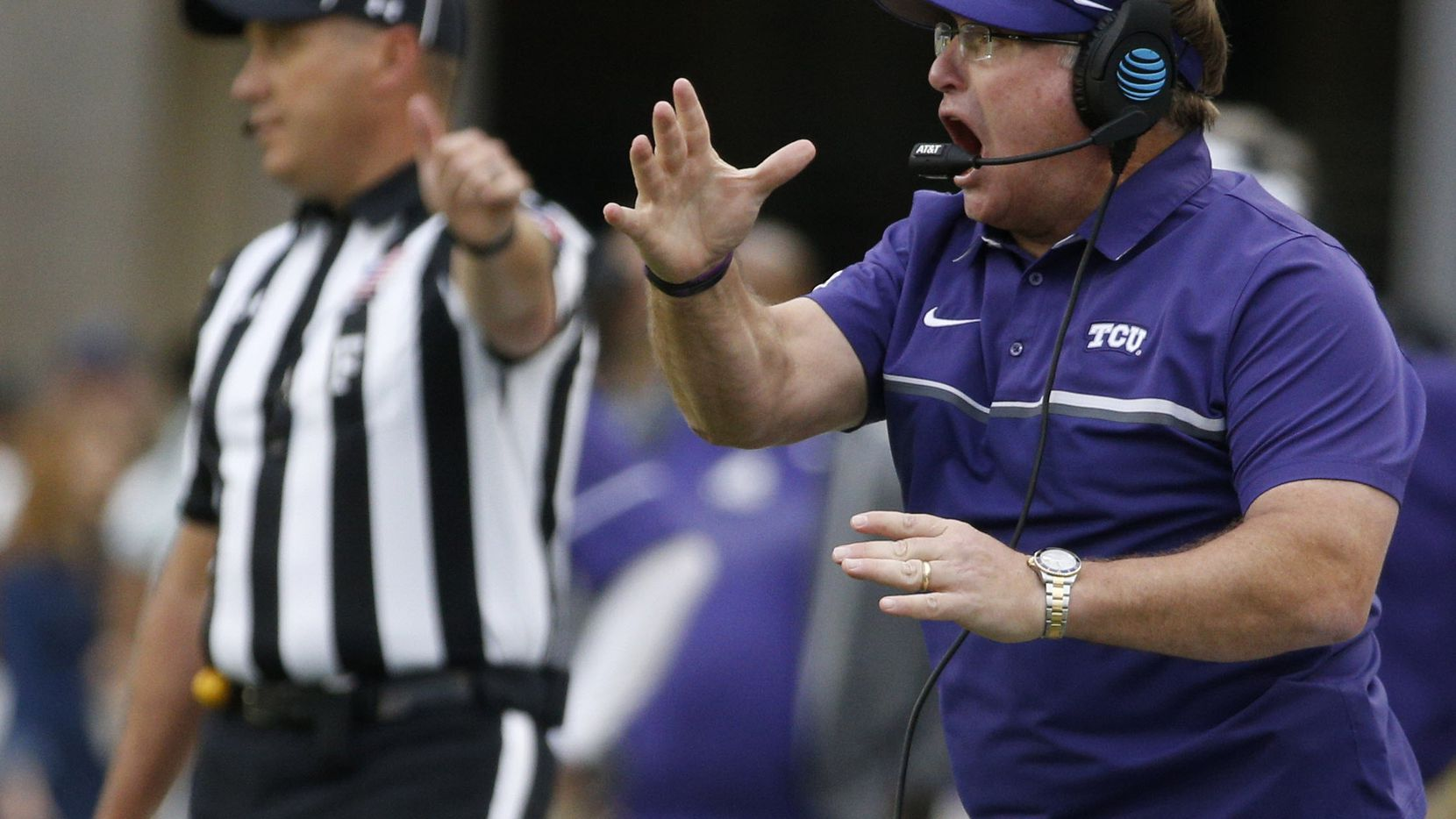 TCU coach Gary Patterson yells during their game against Baylor Bears at McLane Stadium in Waco, Texas on Nov. 5, 2016.  TCU was leading 38-14 at the half.