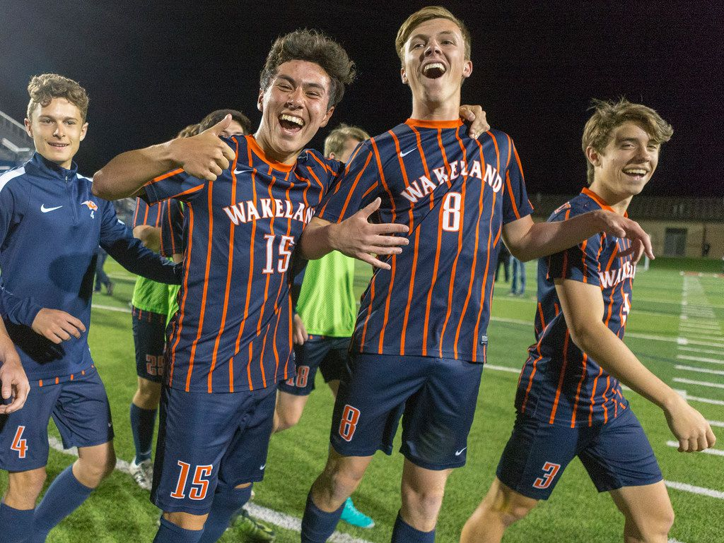 Frisco Wakeland's Landon Smith (4), Bryson Bezdek (15), Nick Lehrer (8) and Alex Wing (3) celebrate a 3-1 win over Pharr Valley View during the Class 5A boys soccer state semifinal in Georgetown, Thursday, April 19, 2018.