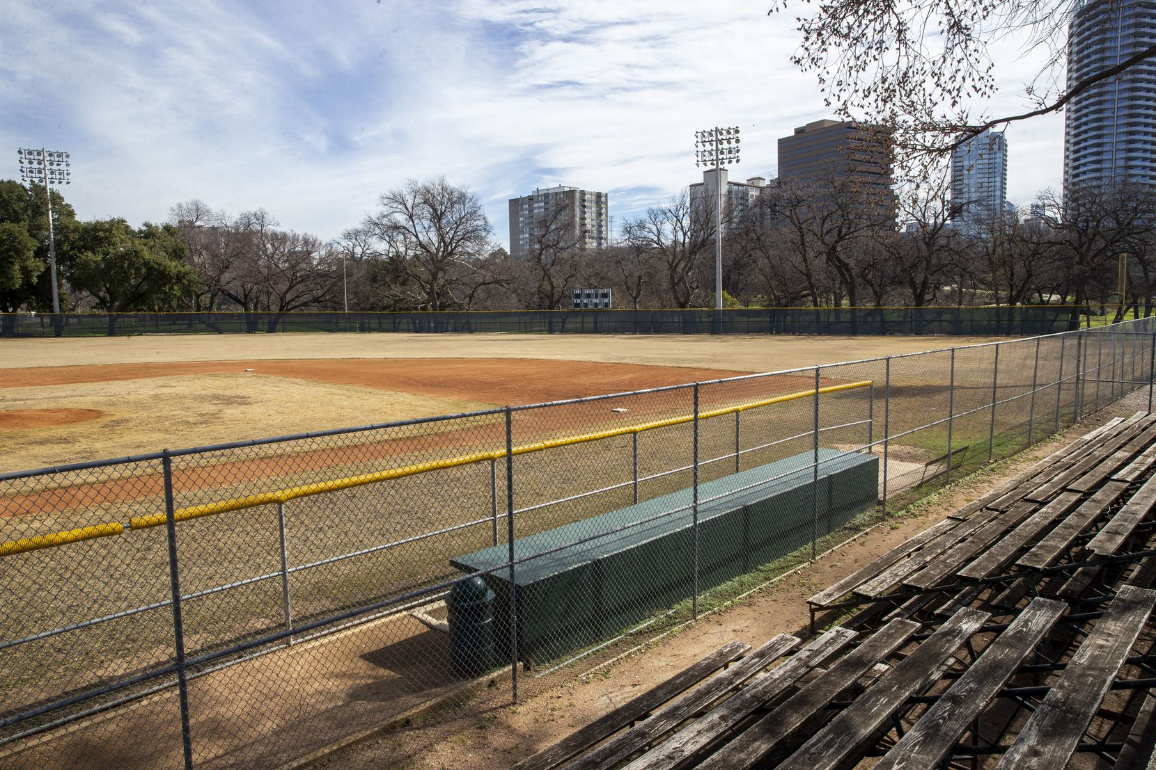 The ballpark at Reverchon Park in the Oak Lawn/Uptown area of Dallas on Friday, Feb. 7, 2020. During a press conference on Friday, neighbors expressed dissatisfaction in the city's decision to allow a $15 million deal to allow a private developer to build a baseball stadium in the park without seeking community input. Council members voted 11-4 to approve the deal last month.