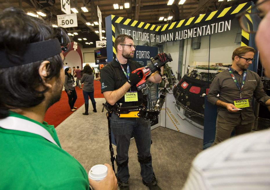 Gavin Barnes, a lead engineer at Lockheed Martin shows the Fortis exoskeleton at SXSW.