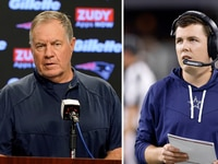 Patriots coach Bill Belichick (left) and Cowboys offensive coordinator Kellen Moore (right). Photos from The Associated Press and The Dallas Morning News staff.
