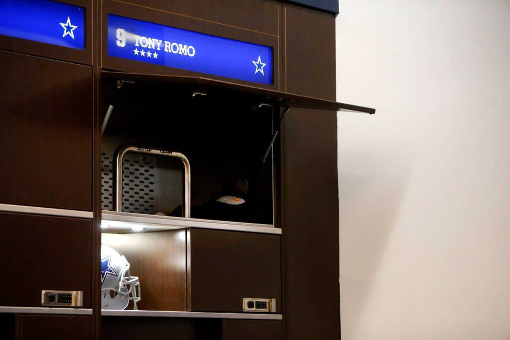 FILE - Dallas Cowboys quarterback Tony Romo's locker during locker room clean-out at The Star in Frisco, Texas on Jan. 16, 2017. The Cowboys lost against the Green Bay Packers 34-31in the NFC divisional round playoff game, ending their 13-3 season. (Rose Baca/The Dallas Morning News)