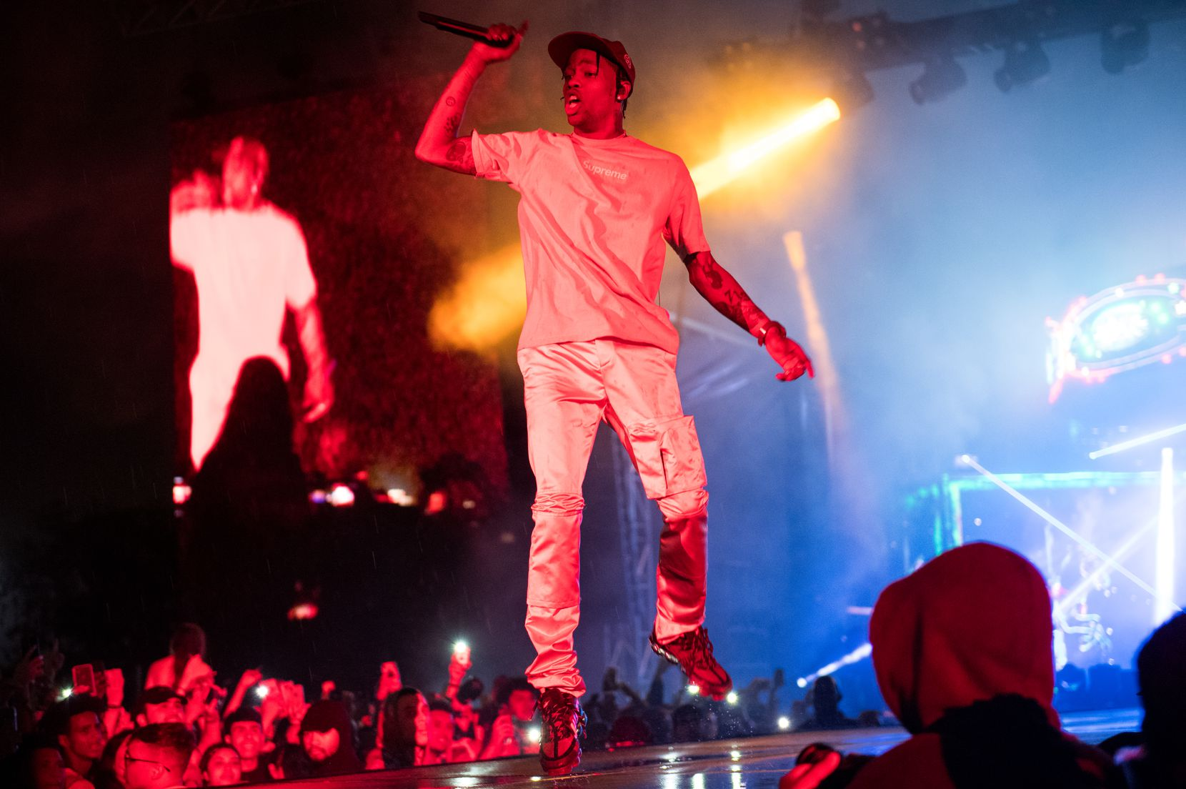Travis Scott performs on the Wolf Stage. It rained during most of his set at JMBLYA at Fair Park on May 3, 2019.