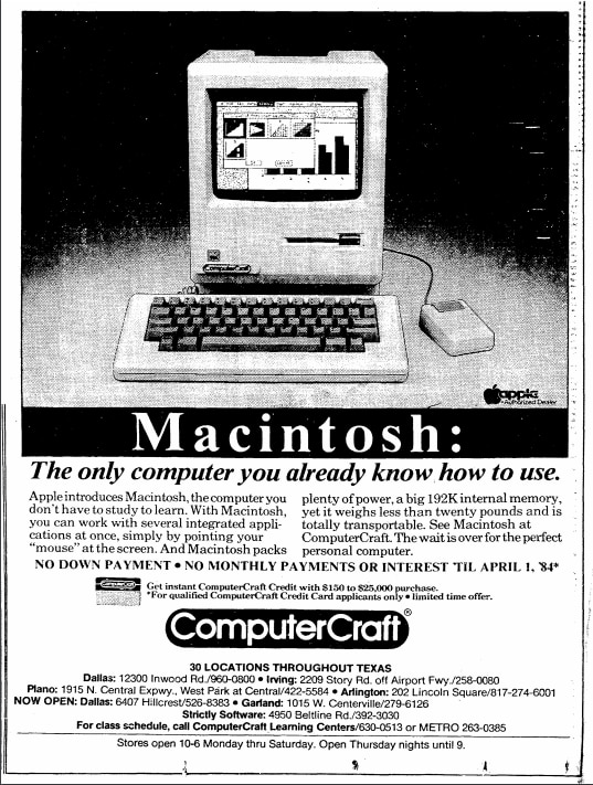The Macintosh introduced the computer mouse to a wider market than ever before- it's advertised here as an exciting, intuitive feature.