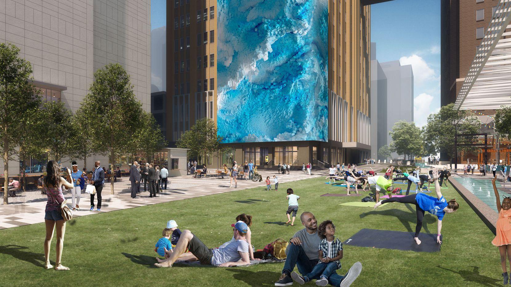AT&T's five block Discovery District includes open spaces, restaurants and retail.
