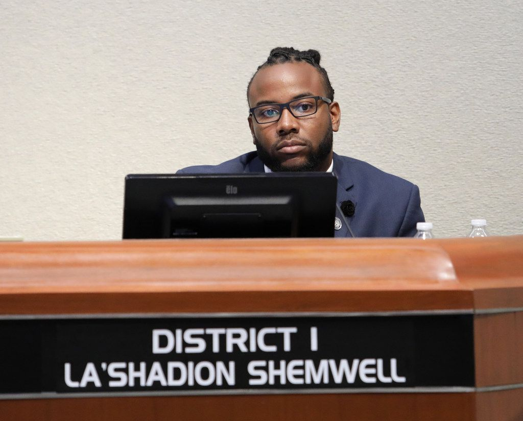 La'Shadion Shemwell at a city council meeting at McKinney City Hall on May 15, 2018. Shemwell was arrested on a family violence charge in December 2018, but a grand jury declined to indict him this week. (Jason Janik/Special Contributor)