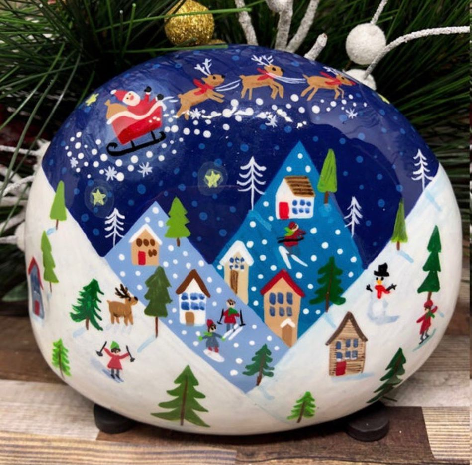 Andrea Bracken painted this rock with a Christmas-themed design. Bracken, a Bedford, TX resident, sells rocks on Etsy. Some of her designs have been placed in the Parr Park Rock Art Trail.
