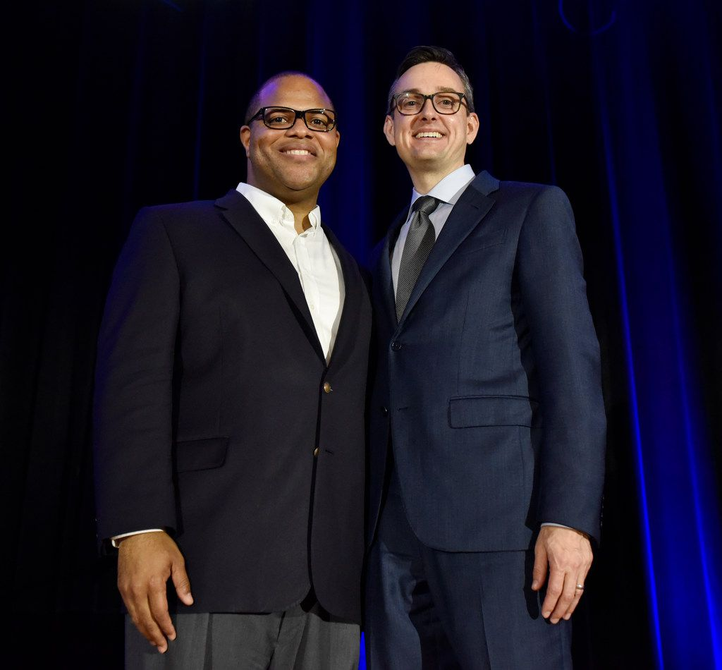 Dallas Mayoral candidates Eric Johnson, left, and Scott Griggs, pose for a photo after participating in a Mayoral run-off forum hosted by the Jewish Community Relations Council of the Jewish Federation of Greater Dallas, May 23, 2019 at the Aaron Family Jewish Community Center in Dallas.