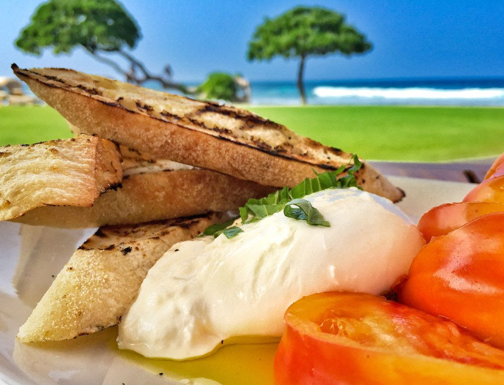 Chefs at the Four Seasons Hualalai make from-scratch mozzarella and grow some of their own tomatoes at the resort.