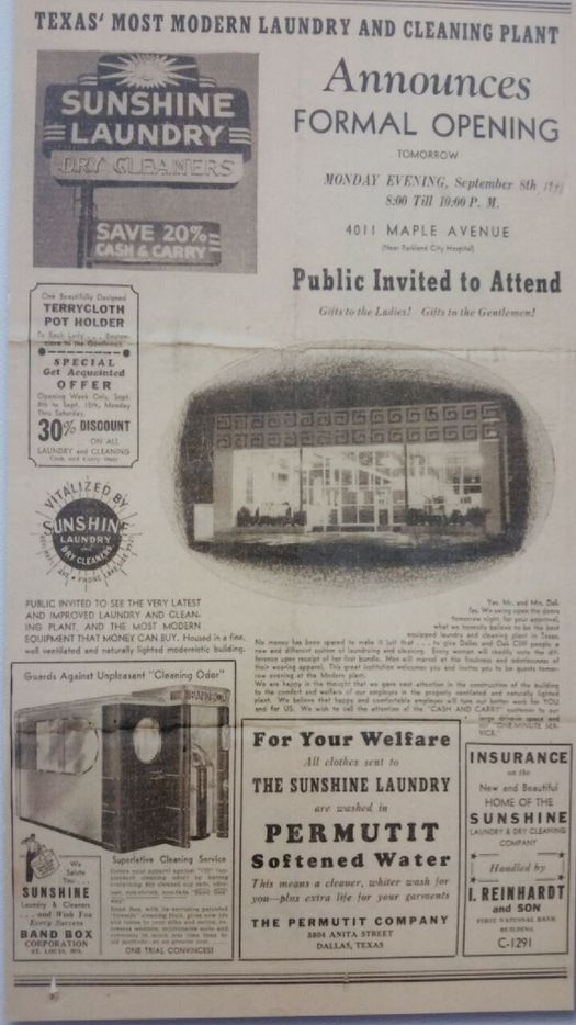 An ad for Sunshine Laundry when it opened at its first Maple Avenue location.