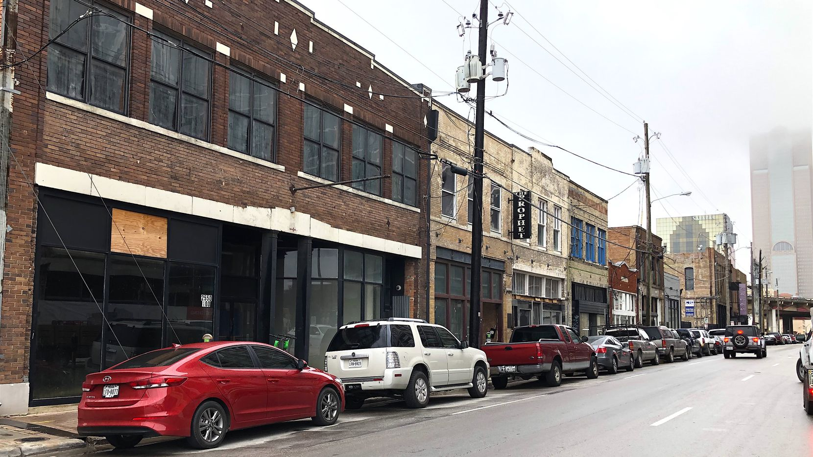 Some of the buildings included in the redevelopment are on Elm Street just east of downtown Dallas.