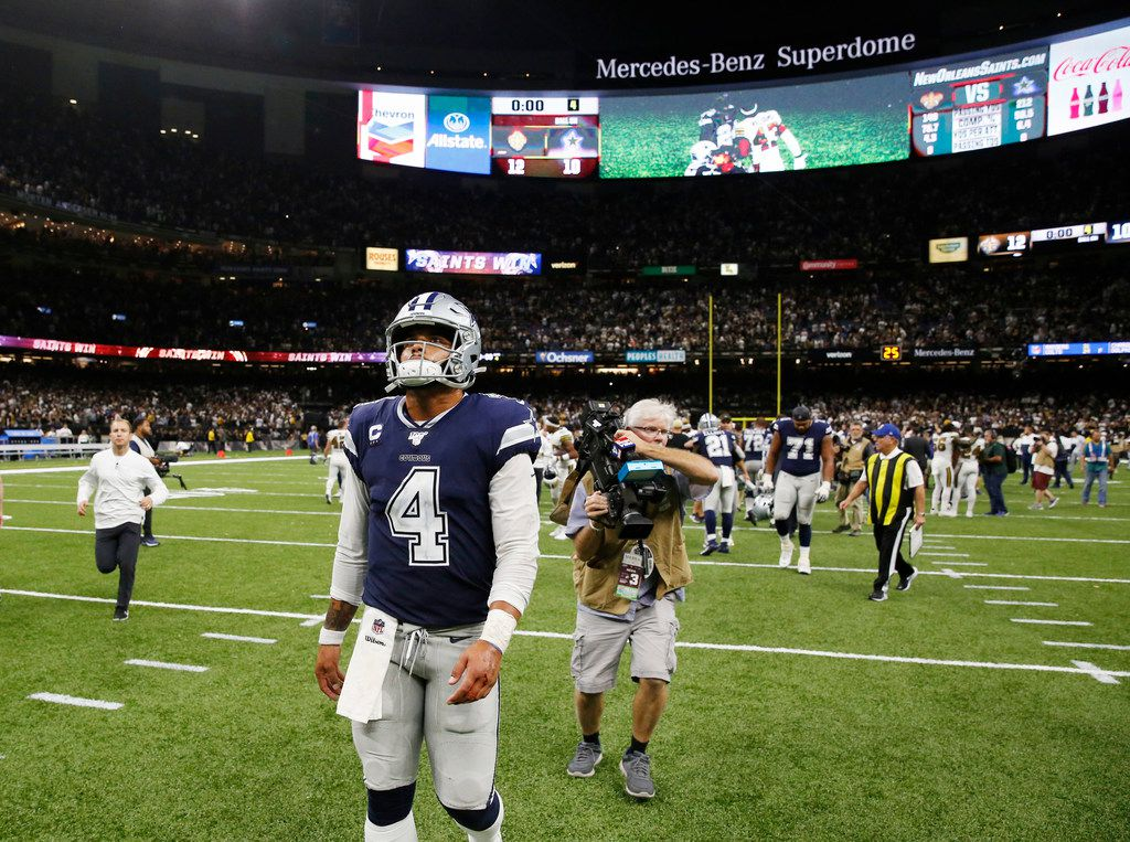 Dallas Cowboys quarterback Dak Prescott (4) walks off the field after losing to the New Orleans Saints 12-10 at the Superdome in New Orleans, Louisiana on Sunday, September 29, 2019.