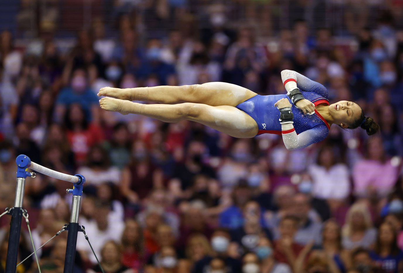 Emma Malabuyo of Texas Dreams competes in the uneven bars during day 1 of the women's 2021 U.S. Olympic Trials at America's Center on Friday, June 25, 2021 in St Louis, Missouri.(Vernon Bryant/The Dallas Morning News)