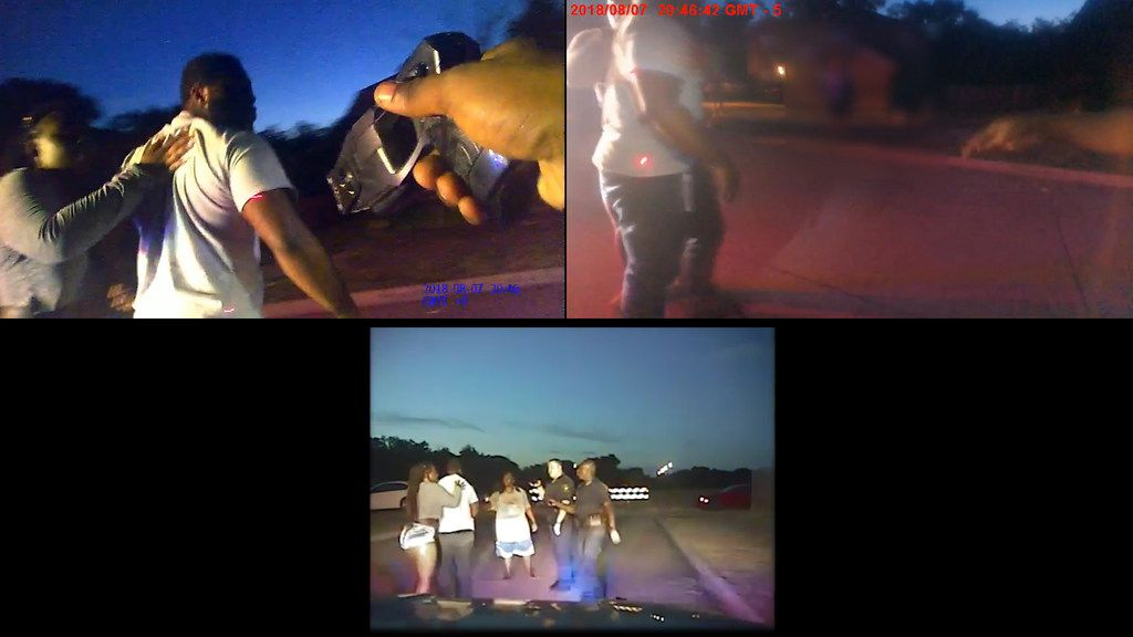 The Dallas Morning News synced footage from police dashcam and body cameras to glean more detail of what happened when DeSoto police officers responded to a 911 call at a family's home last August. At top, frames from body camera footage show an officer pointing his Taser at Sam Bible, projecting a red dot on his arm and waist. Bible had just returned home from work when he walked up to officers asking questions. (Footage obtained from Desoto Police Department)