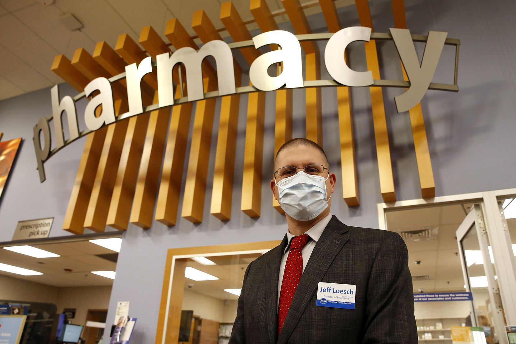 Jeff Loesch, Director of Pharmacy/Dallas Division of Kroger in Irving on Monday, December 7, 2020. (Lola Gomez/The Dallas Morning News)