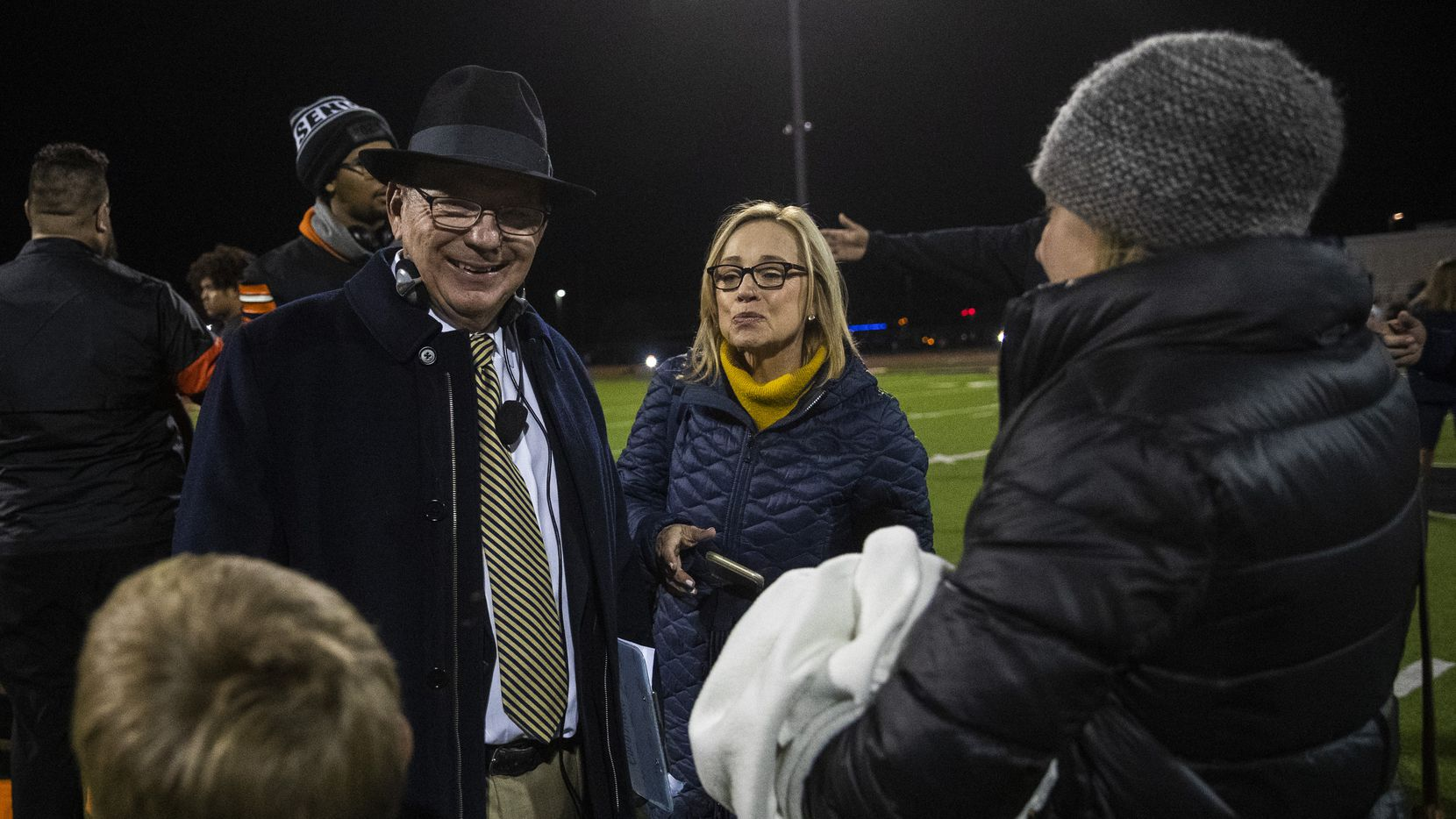 Highland Park head coach Randy Allen smiles while he chats with family after a 42-35 win over Lancaster on Friday, November 1, 2019 at Beverly D. Humphrey Tiger Stadium in Lancaster. It marked his 400th win. (Ashley Landis/The Dallas Morning News)