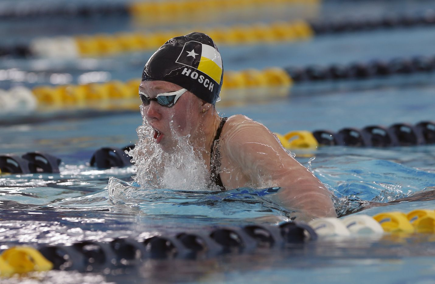Highland Park's Lindsey Hosch competing in second leg of 200 Medley Relay. UIL Girls 5A Finals on Tuesday, March 2,2021 at Bill Walker Pool and Josh Davis Natatorium