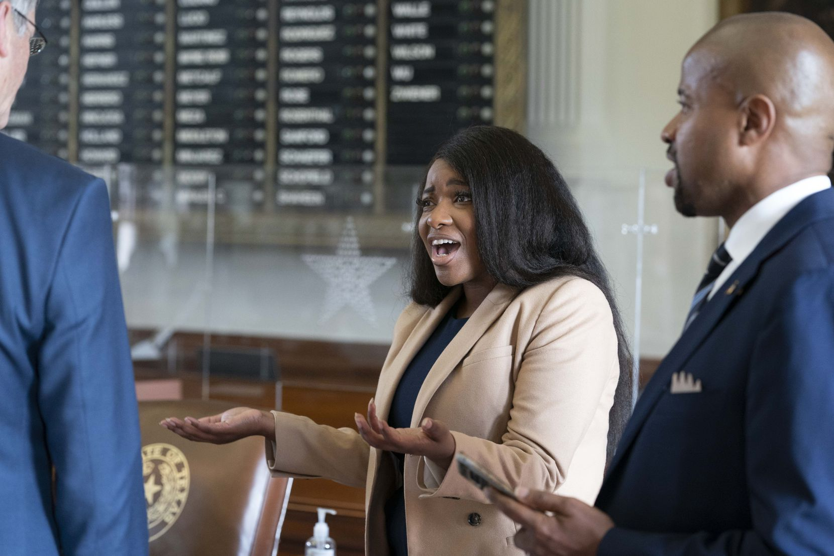 State Rep. Jasmine Crockett, D-Dallas, reacts to her being named freshman of the year of the Black Caucus on the final day of the 87th Texas Legislature.