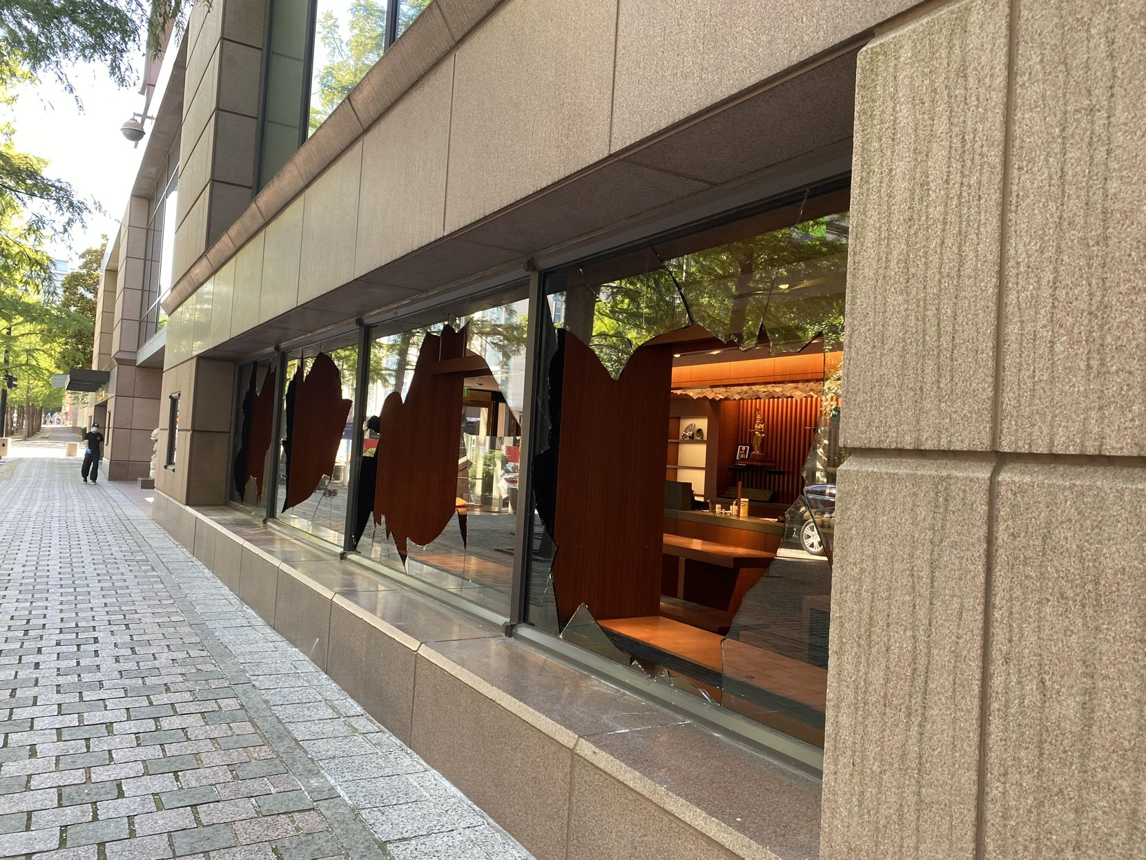 This photo, taken May 31, 2020, shows the extensive damage inflicted on the Crow Museum of Asian Art on Flora Street during vandalism that occurred in downtown Dallas. The photo was taken by the Nasher's Jill Magnuson while inspecting damage in the area.