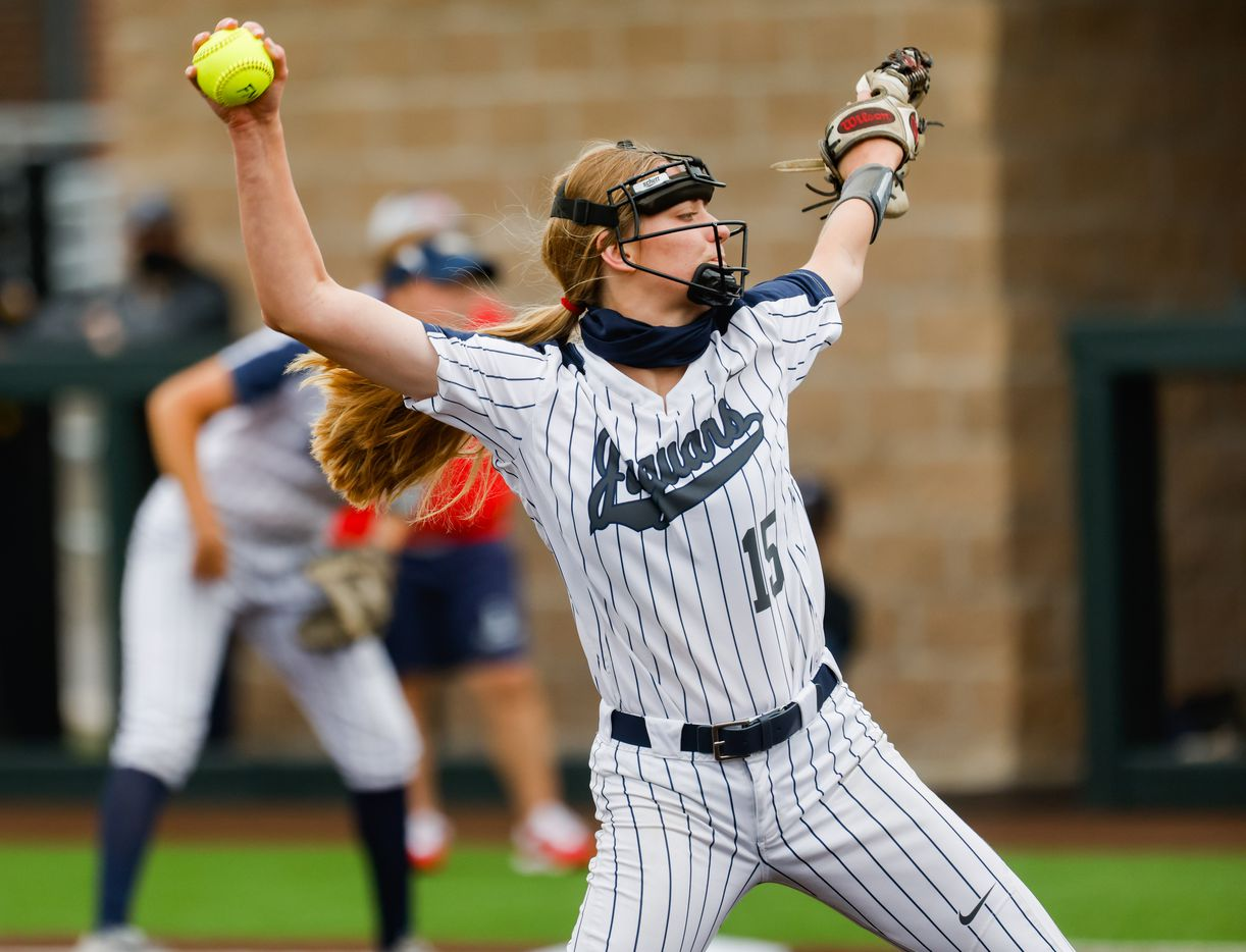 Flower Mound's pitcher Landrie Harris (15) pitches to McKinney Boyd during the first inning of a Class 6A bi-district playoff game on Friday, April 30, 2021, in Denton. (Juan Figueroa/The Dallas Morning News)